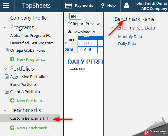 Financial performance report production - screenshot