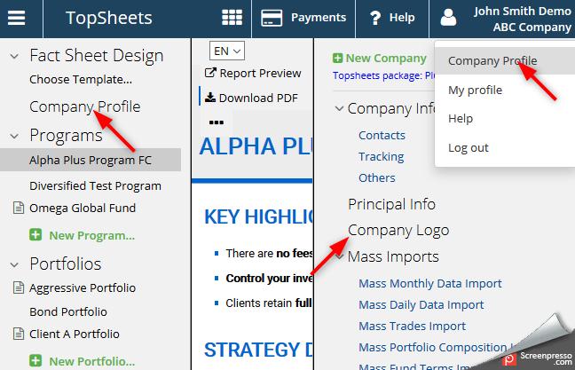 Fund tearsheet software production - screenshot