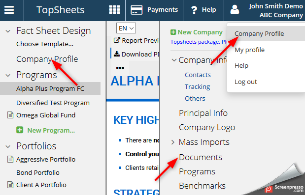 Fund documents production - screenshot