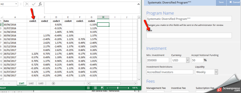 Fund factsheet data import - screenshot