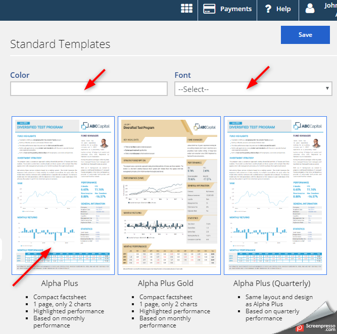 Fund tearsheet templates solution - screenshot